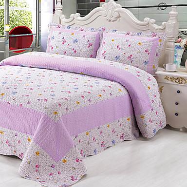 3-dílná fialová vzor sepraná bavlna deka sadu