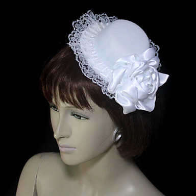 Beautiful Satin/Lace With Hat Wedding Fascinators