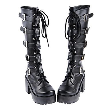 Schuhe Gothik Gothik Punk Handgemacht Stöckelschuh Schuhe Solide 8 CM Schwarz Für PU - Leder/Polyurethan Leder Polyurethan Leder