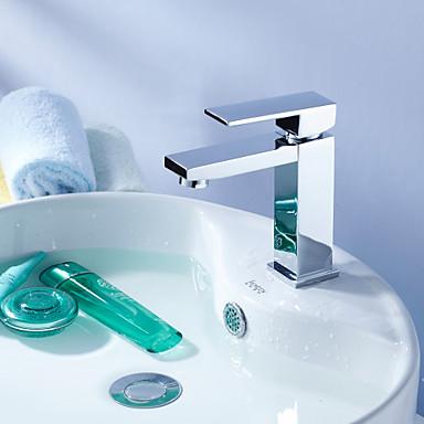 Çağdaş Tek Gövdeli Döndürülebilir Seramik Vana Tek Delik Tek Kolu Bir Delik Krom, Banyo Lavabo Bataryası