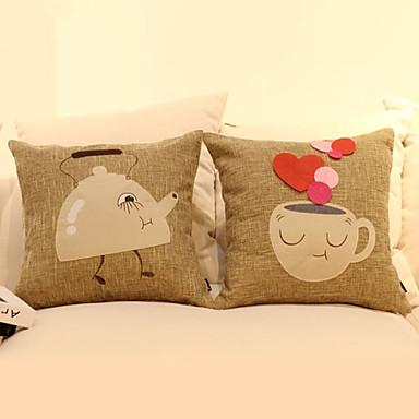 Conjunto de 2 Patchword algodão / linho Capa Louça Pillow