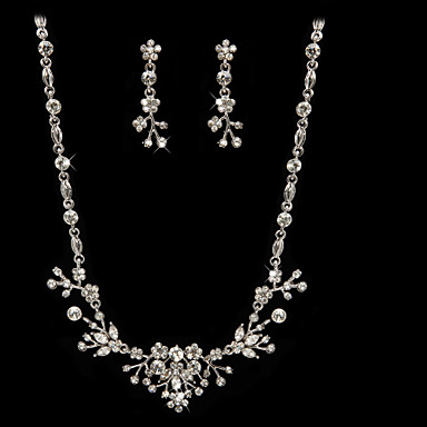 Shining Czech Rhinestones Alloy Plated Wedding Bridal Necklace And Earrings Jewelry Set