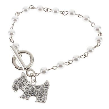 abordables Bracelet-Breloque Charms Bracelet Femme Perle Résine Chiens Animal Bracelet Bijoux Argent pour Mariage