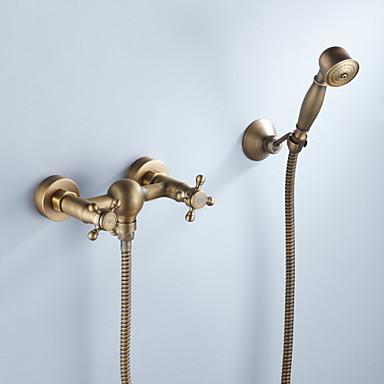 Slavina za tuš - Umjetnička / Retro Antique Brass Montiranje unutra Keramičke ventila Bath Shower Mixer Taps / Dvije ručke tri rupe