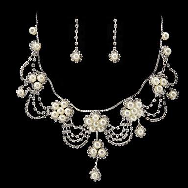 vackra rhinestone / oäkta pärla brudkläder smycken set - 17 tums halsband med örhängen