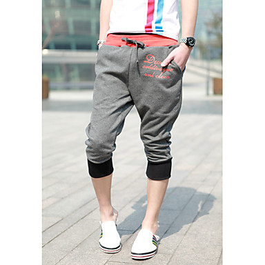 Men's Letters Print Tether Cropped Sports Pants