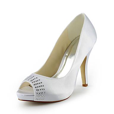 Satin Stiletto hæl peep toe med rhinestone bryllup sko (flere farger)