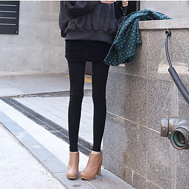 Women's Stretchy Cropped Skinny Leggings with Skirt