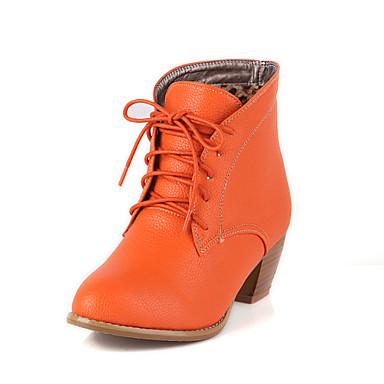 Kunstlæder-Modestøvler-Damer-Brun Sort Brun Beige Orange-Fritid-Tyk hæl