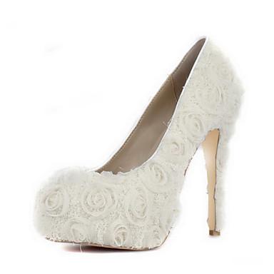 Bombas de satén de tacón de aguja con zapatos de raso de novia de flores (más colores)