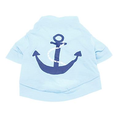 Dog Shirt / T-Shirt Dog Clothes Sailor Blue Cotton Costume For Pets Men's Holiday Fashion