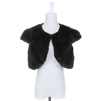 Collarless Faux Fur Casual/Party Jacket