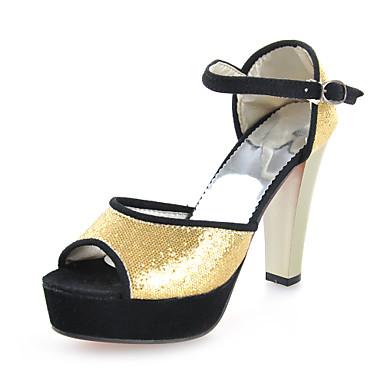 Sort / Sølv / Guld - Tyk hæl - Kvinders Sko - Komfort - Glitter - Hverdag - høje hæle / Sandaler