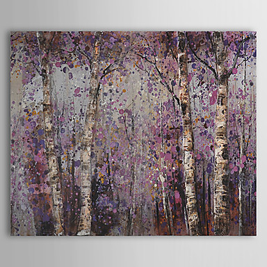 Hand-Painted Floral/Botanical Horizontal, Pastoral Canvas Oil Painting Home Decoration One Panel
