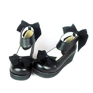 Ayakkabılar Klasik/Geleneksel Lolita Klasik Lolita Prenses Dolgu Dolgu Topuk Ayakkabılar Fiyonk Düğüm 4.5 CM Siyah Uyumluluk PU