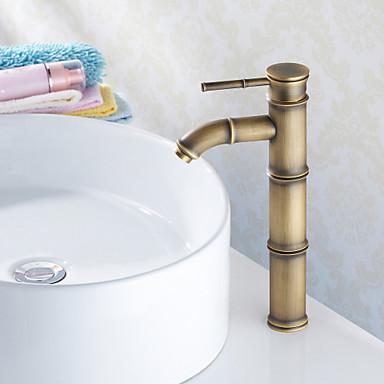 Antik Basin Keramik Ventil Et Hul Enkelt håndtag Et Hul Antik Messing, Håndvasken vandhane