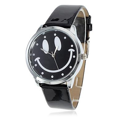 Women's Smiling Face Style PU Analog Quartz Wrist Watch (Black) Cool Watches Unique Watches Fashion Watch Strap Watch
