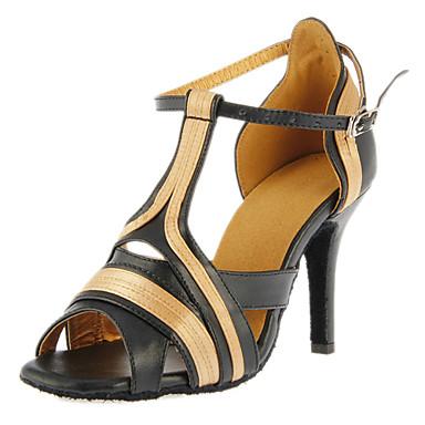 Women's Latin Ballroom Satin Leatherette Heel Buckle Customized Heel Black Customizable