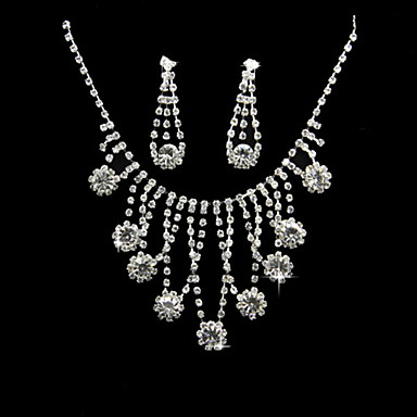 Women's Rhinestone Alloy Necklaces Earrings For Wedding Party Special Occasion Anniversary Birthday Engagement Wedding Gifts