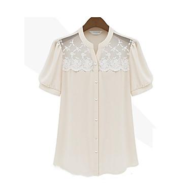 Kvinnor Lace Virka Skarvning Puff Sleeve Shirt