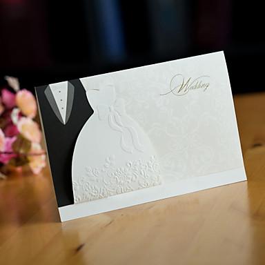 Yandan Katlamalı Düğün Davetiyeleri Davet Kartları İnci Kağıdı 6 ½