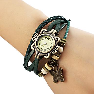 baratos Relógios Senhora-Mulheres senhoras Bracele Relógio envoltório relógio Quartzo Couro PU Acolchoado Preta / Azul / Marrom Relógio Casual Analógico Borboleta Boêmio Fashion - Marron Verde Azul Um ano Ciclo de Vida da