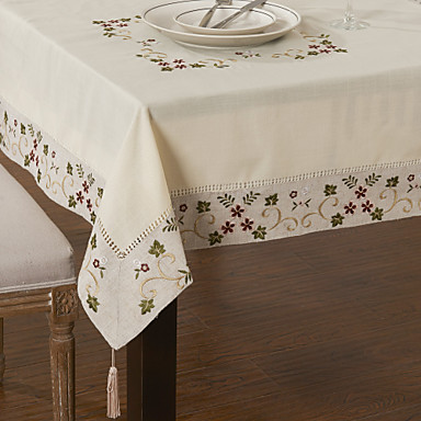 Linen / Cotton Blend Square Table Cloth Floral Eco-friendly Table Decorations