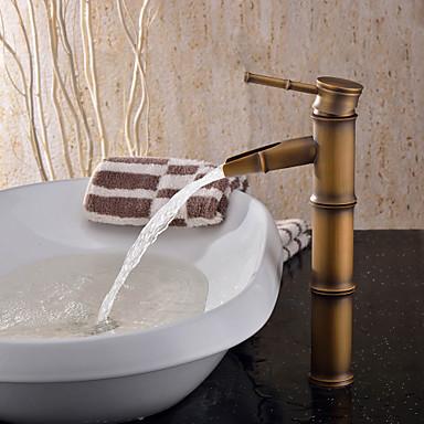 Art déco/Retro Becken Keramisches Ventil Ein Loch Einhand Ein Loch Antikes Messing, Waschbecken Wasserhahn