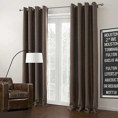 cheap Window Treatments-Grommet Top Curtain Modern Solid 100% Polyester Polyester Material Home Decoration