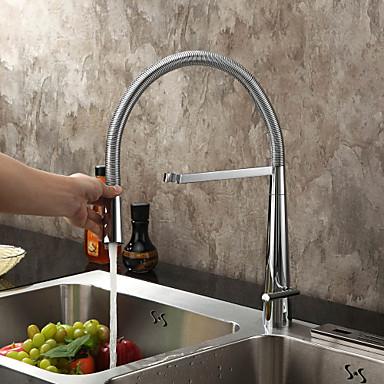 Moderní Pull-out / Pull-down Tezgah Üstü Durulama Öncesi with  Keramický ventil S jedním otvorem Single Handle jeden otvor for