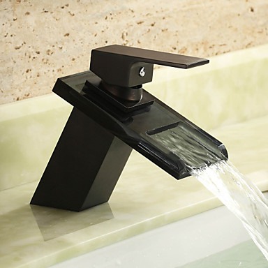 Kylpyhuone Sink hana - Vesiputous Öljytty pronssi Integroitu Yksi reikä / Yksi kahva yksi reikä