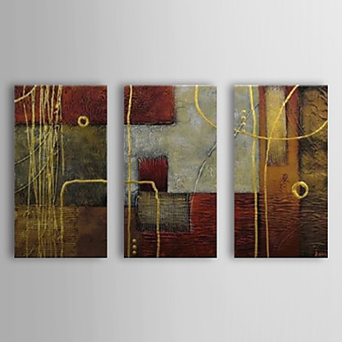 Hand-Painted Abstract Horizontal Canvas Oil Painting Home Decoration Three Panels