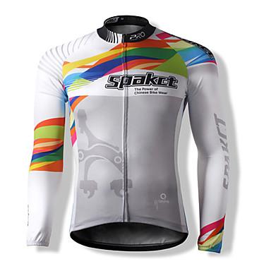 SPAKCT Pentru bărbați Unisex Mânecă Lungă Bicicletă Jerseu TopuriKeep Warm Uscare rapidă Rezistent la Vânt Fermoar Față Rezistent la Praf