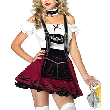 Maid Costume Bavarian Oktoberfest Cosplay Costume Party Costume Women's Oktoberfest Festival / Holiday Halloween Costumes Patchwork