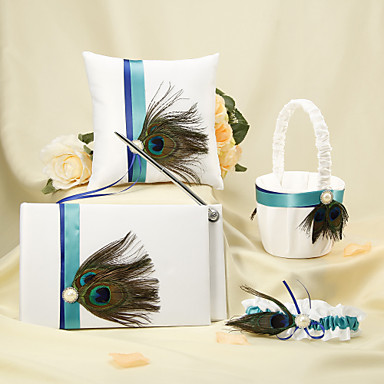 Fairytale Theme Guest Book Pen Set Ring Pillow Flower Basket With Faux Pearl Rhinestones Ribbons Feather Satin