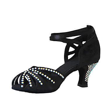 Pentru femei Latin Satin Sandale Toc Personalizat Negru Personalizabili