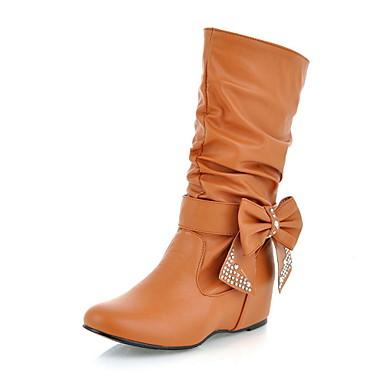 Γυναικεία παπούτσια - Μπότες - Φόρεμα - Ενιαίο Τακούνι - Μονοκόμματο / Μοντέρνες Μπότες - Δερματίνη - Μαύρο / Κίτρινο / Κόκκινο / Άσπρο
