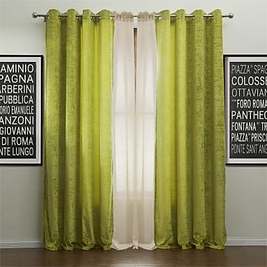 Schlaufen für Gardinenstange Ösen Schlaufen Zweifach gefaltet zwei Panele Window Treatment Modern, Jacquard Solide Polyester Stoff