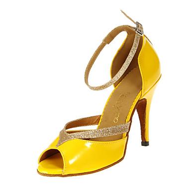 baratos Shall We® Sapatos de Dança-Mulheres Sapatos de Dança Sintéticos Sapatos de Dança Latina / Dança de Salão Salto Salto Personalizado Personalizável Amarelo / Couro / EU41