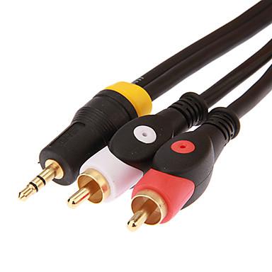 jsj® 1,8 5.904ft 3,5 mm Stereo-Stecker auf 2 Cinch-Stecker Audio-Kabel - schwarz