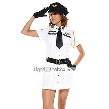 Fantasia Branca Airline Polícia Vestido de Halloween Costume (5 Pieces)