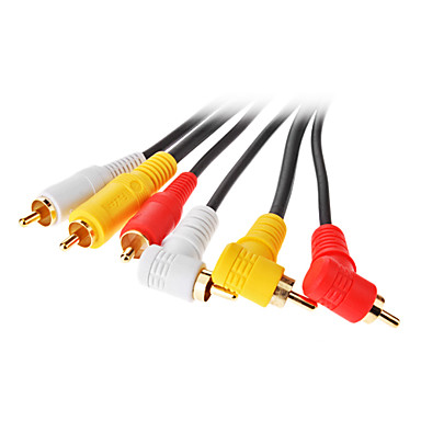 jsj® 1,5 4.92ft 3 Cinch-90-Grad-Stecker auf 3 Cinch-AV-Kabel männlich - schwarz
