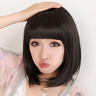 Synthetic Wig Straight Bob Haircut / With Bangs Synthetic Hair Natural Black Wig Women's Medium Length Black Wig / Natural Wigs Capless