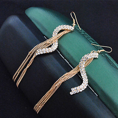 Drop Earrings Simulated Diamond Alloy Fashion Gold Jewelry 2pcs