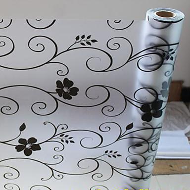 Květinový Země Fólie na okna, PVC/Vinil Materiál dekorace oken Jídelna Ložnice Obývák