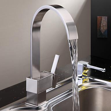 βρύση κουζίνας - ένα ντουέλι βουρτσισμένο ψηλό / υψηλό τόξο τοποθετημένο στο πάτωμα σύγχρονη / ενιαία λαβή μια τρύπα