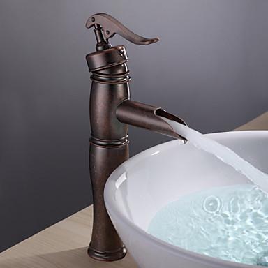 Waschbecken Wasserhahn - Wasserfall Antikes Kupfer Becken Ein Loch / Einhand Ein Loch