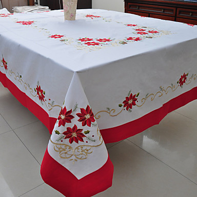 Poly / Cotton Blend Rectangular Table Cloth Floral Table Decorations