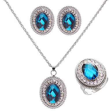 Jewelry Set Women's Wedding / Engagement / Birthday Jewelry Sets Alloy Sapphire / Rhinestone Necklaces / Earrings Silver