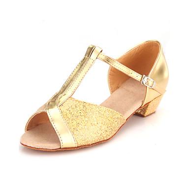 Mulheres Sapatos de Dança Latina / Dança de Salão Glitter Sandália Presilha Salto Baixo Não Personalizável Sapatos de Dança Dourado /